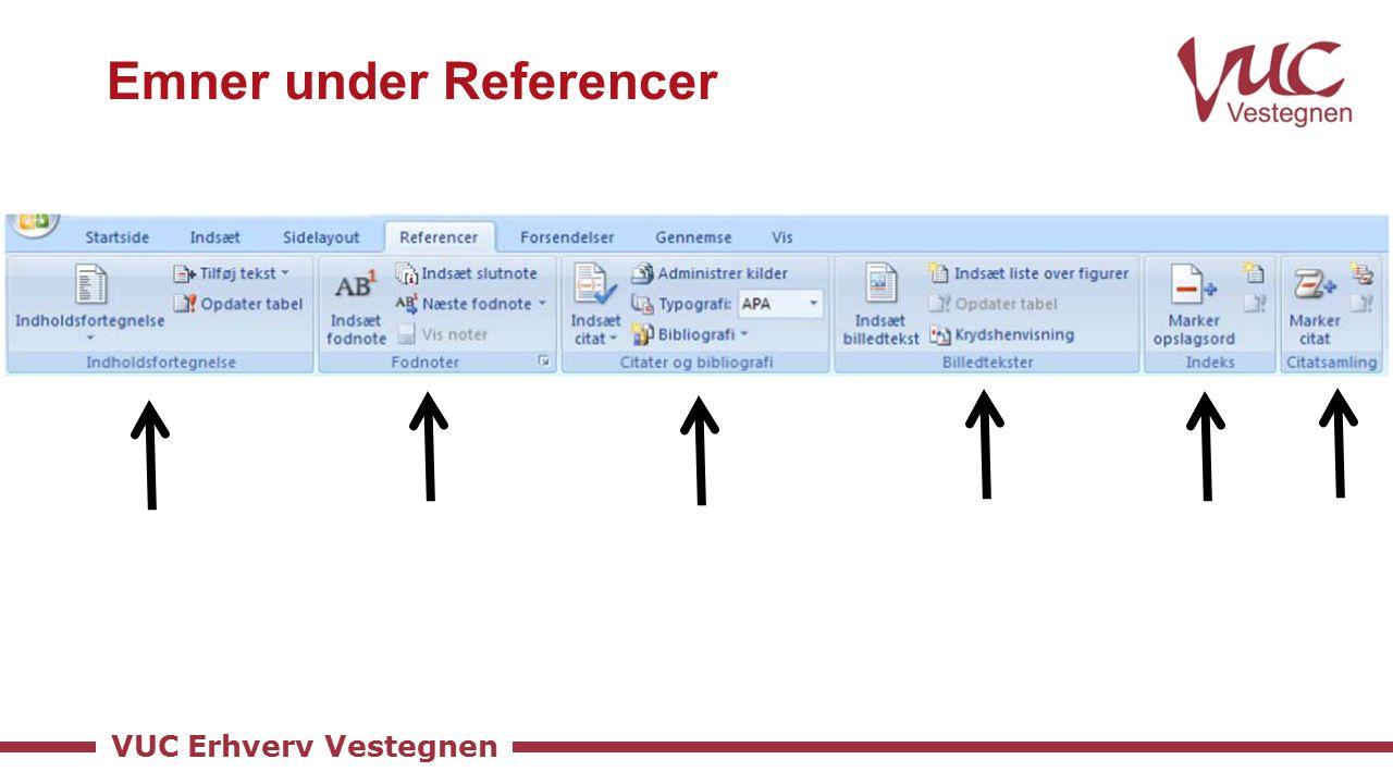 VUC Erhverv Vestegnen Emner under Referencer