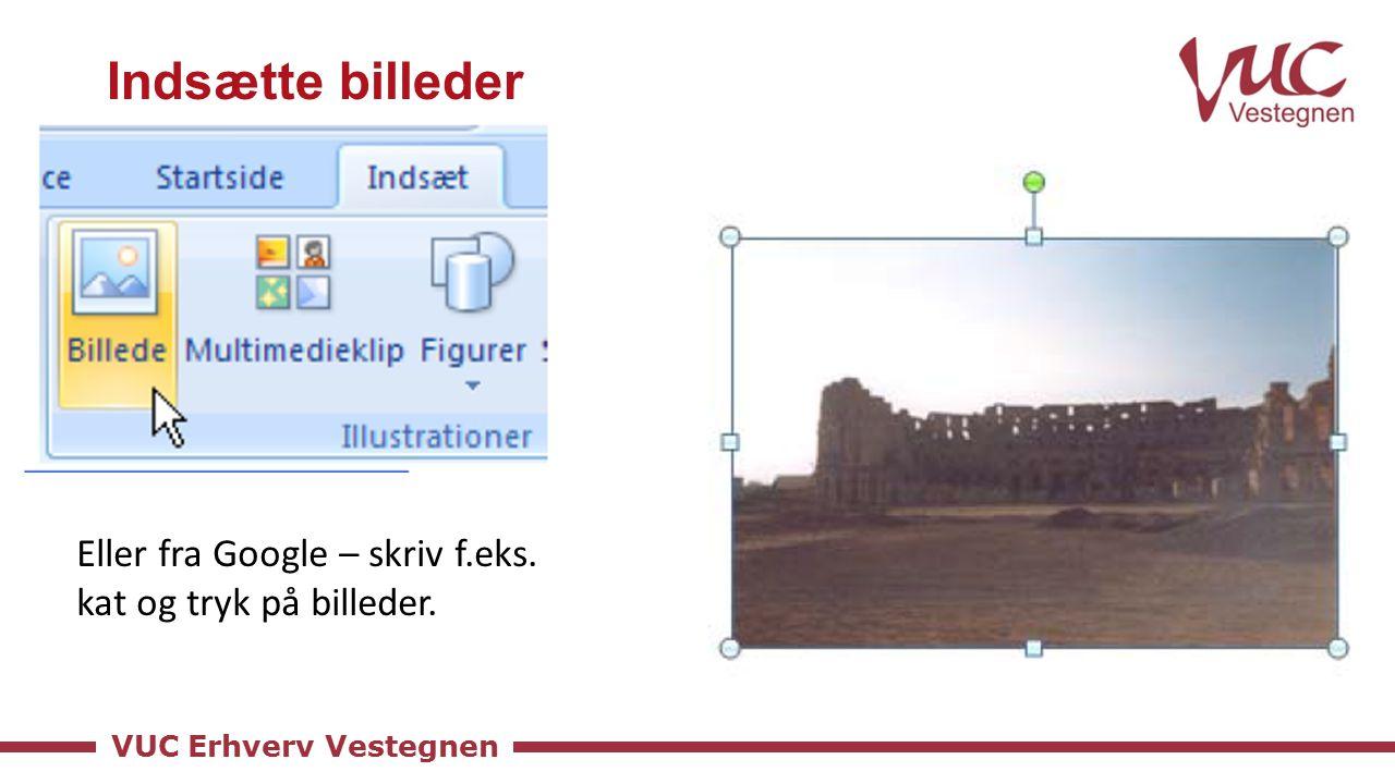 VUC Erhverv Vestegnen Indsætte billeder Eller fra Google – skriv f.eks. kat og tryk på billeder.