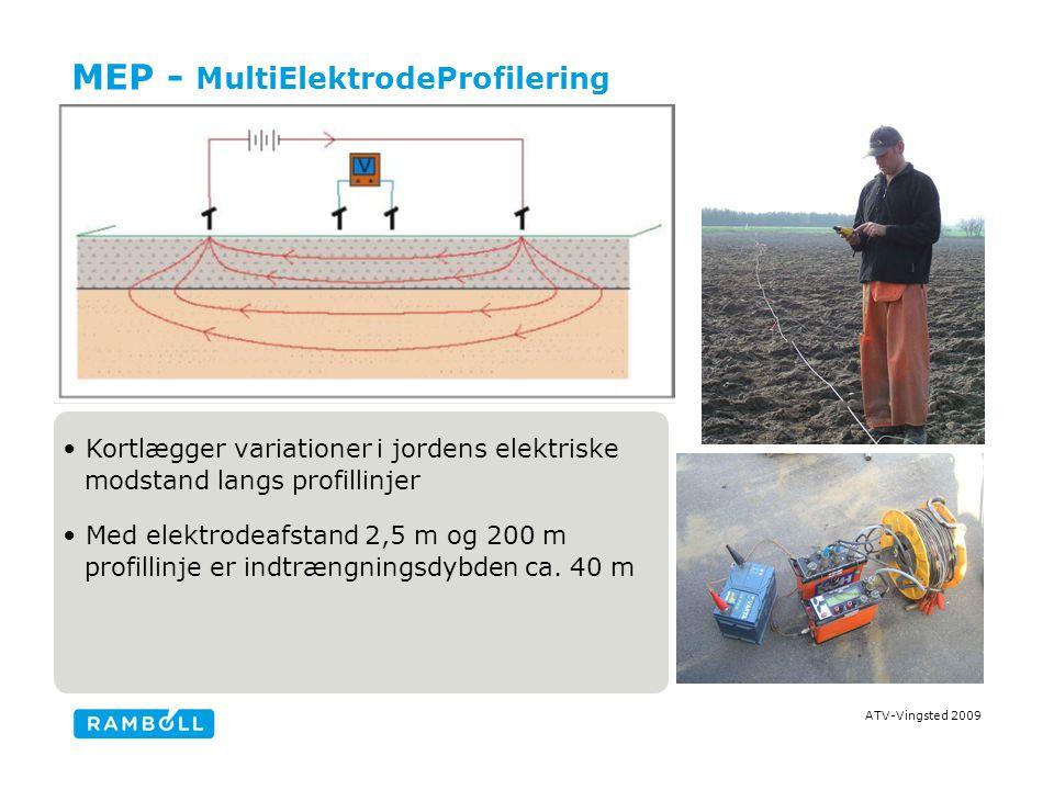 ATV-Vingsted 2009 MEP - MultiElektrodeProfilering Kortlægger variationer i jordens elektriske modstand langs profillinjer Med elektrodeafstand 2,5 m og 200 m profillinje er indtrængningsdybden ca.