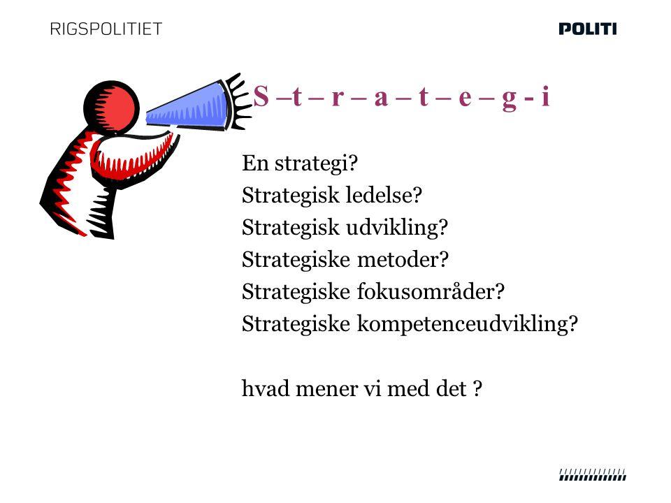 En strategi. Strategisk ledelse. Strategisk udvikling.