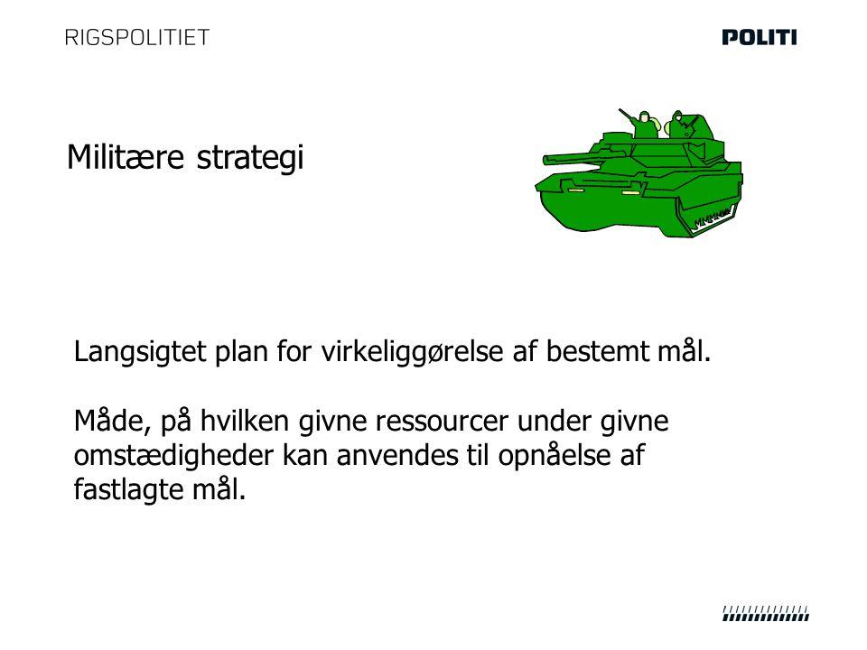 Militære strategi Langsigtet plan for virkeliggørelse af bestemt mål.