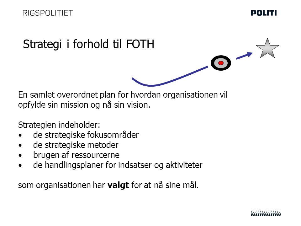 Strategi i forhold til FOTH En samlet overordnet plan for hvordan organisationen vil opfylde sin mission og nå sin vision.