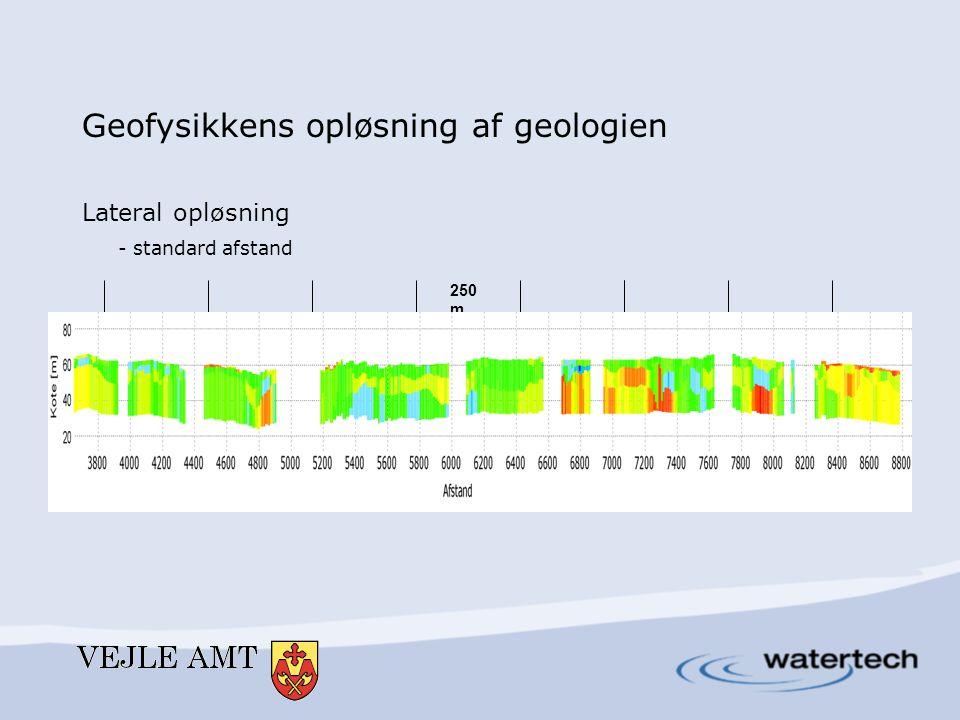 Geofysikkens opløsning af geologien Lateral opløsning - standard afstand 250 m