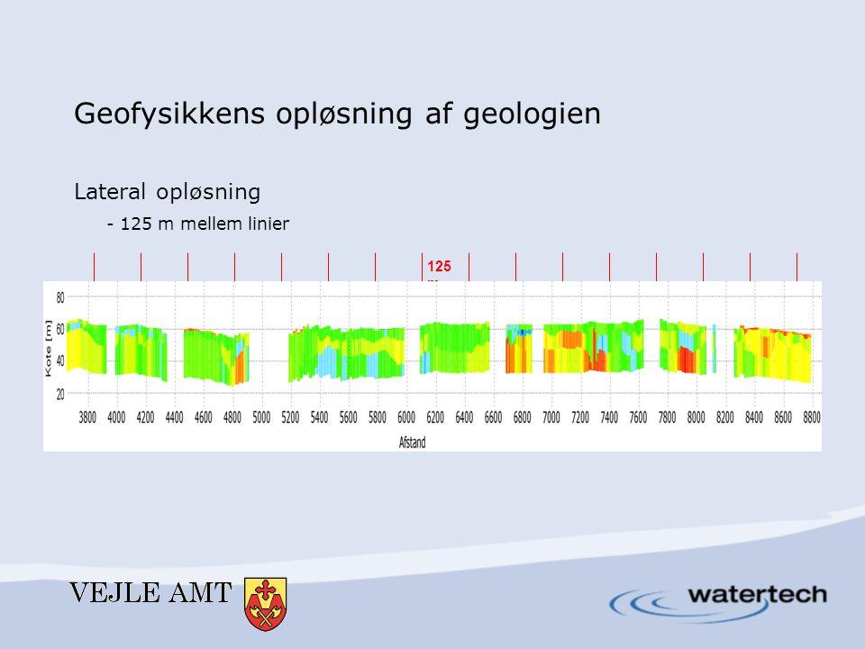 125 m Geofysikkens opløsning af geologien Lateral opløsning - 125 m mellem linier