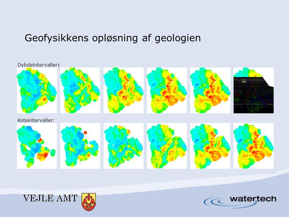 Dybdeintervaller: Koteintervaller : Geofysikkens opløsning af geologien