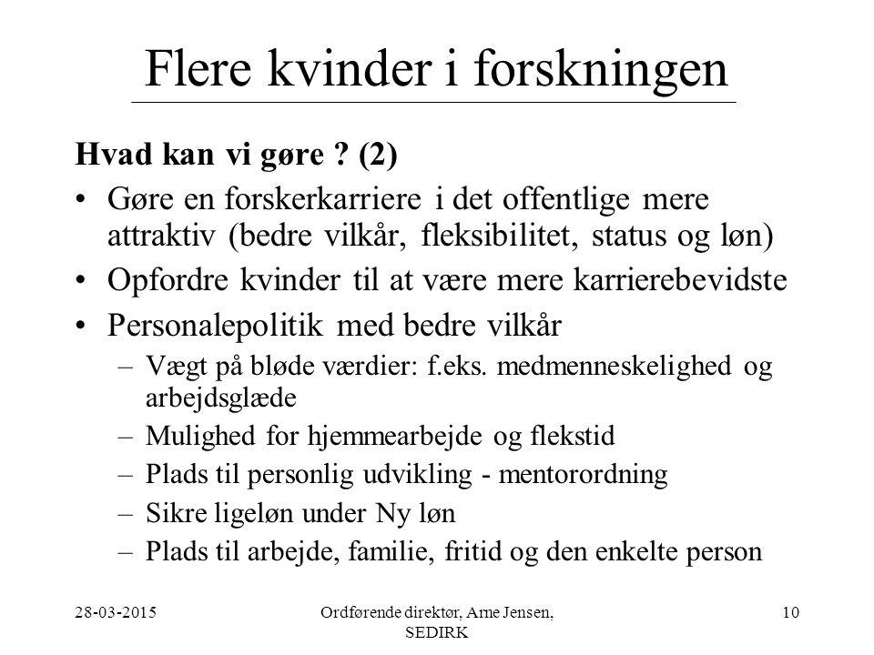 28-03-2015Ordførende direktør, Arne Jensen, SEDIRK 10 Flere kvinder i forskningen Hvad kan vi gøre .