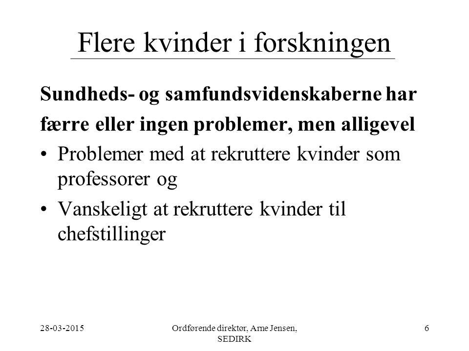28-03-2015Ordførende direktør, Arne Jensen, SEDIRK 6 Flere kvinder i forskningen Sundheds- og samfundsvidenskaberne har færre eller ingen problemer, men alligevel Problemer med at rekruttere kvinder som professorer og Vanskeligt at rekruttere kvinder til chefstillinger