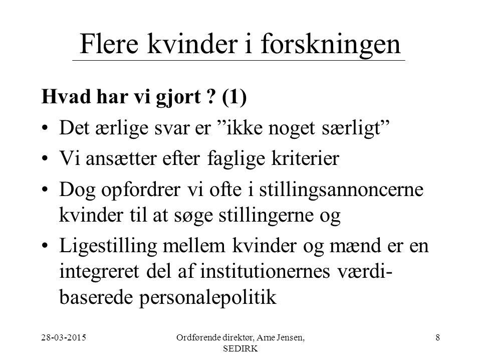 28-03-2015Ordførende direktør, Arne Jensen, SEDIRK 8 Flere kvinder i forskningen Hvad har vi gjort .