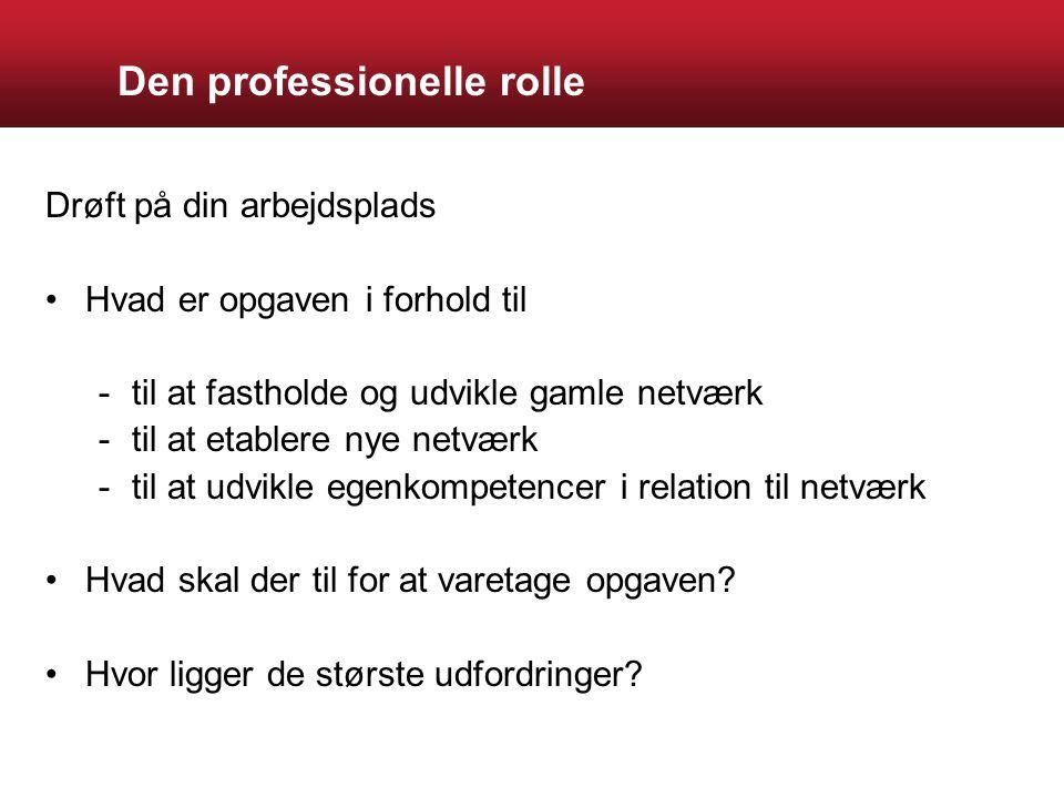 Den professionelle rolle Drøft på din arbejdsplads Hvad er opgaven i forhold til -til at fastholde og udvikle gamle netværk -til at etablere nye netværk -til at udvikle egenkompetencer i relation til netværk Hvad skal der til for at varetage opgaven.