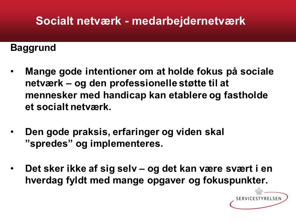Socialt netværk - medarbejdernetværk Baggrund Mange gode intentioner om at holde fokus på sociale netværk – og den professionelle støtte til at mennesker med handicap kan etablere og fastholde et socialt netværk.