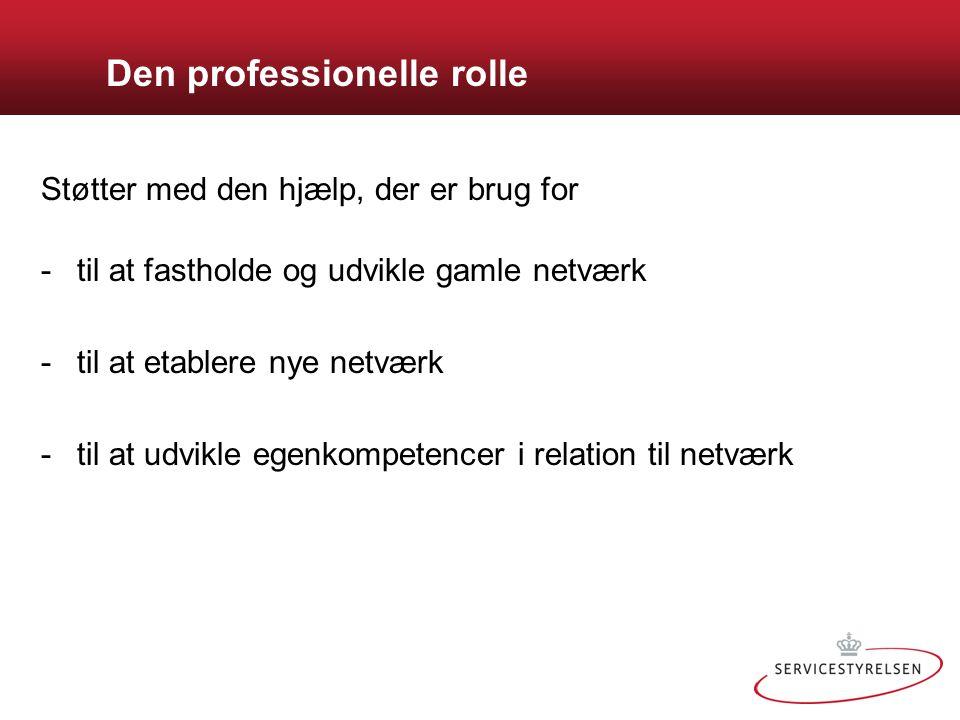 Den professionelle rolle Støtter med den hjælp, der er brug for -til at fastholde og udvikle gamle netværk -til at etablere nye netværk -til at udvikle egenkompetencer i relation til netværk