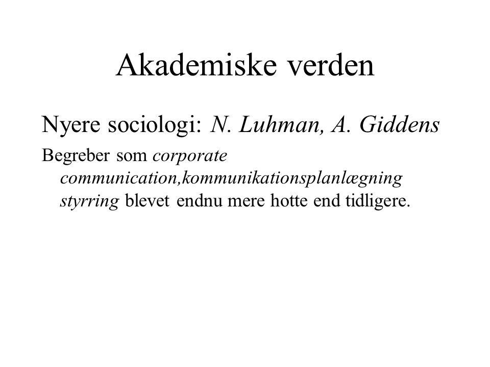 Akademiske verden Nyere sociologi: N. Luhman, A.
