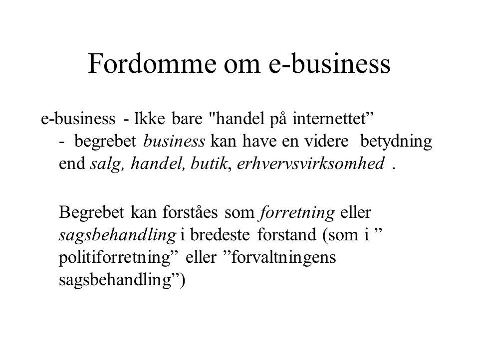 e-business - Ikke bare handel på internettet - begrebet business kan have en videre betydning end salg, handel, butik, erhvervsvirksomhed.
