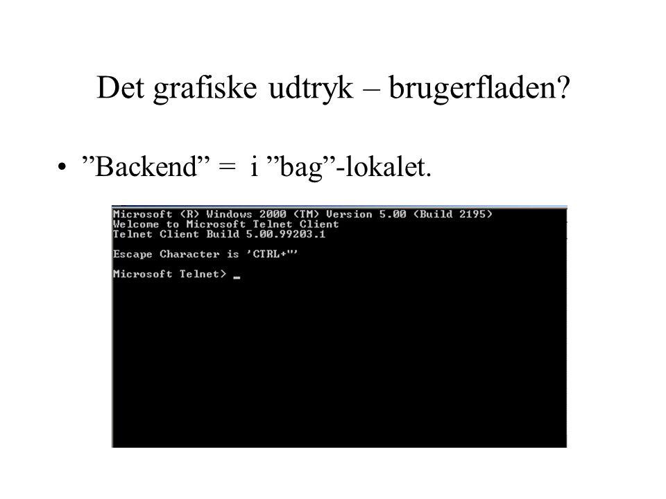 Det grafiske udtryk – brugerfladen Backend = i bag -lokalet.