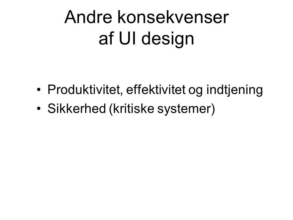 Andre konsekvenser af UI design Produktivitet, effektivitet og indtjening Sikkerhed (kritiske systemer)