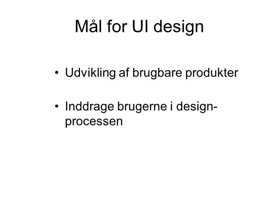 Mål for UI design Udvikling af brugbare produkter Inddrage brugerne i design- processen