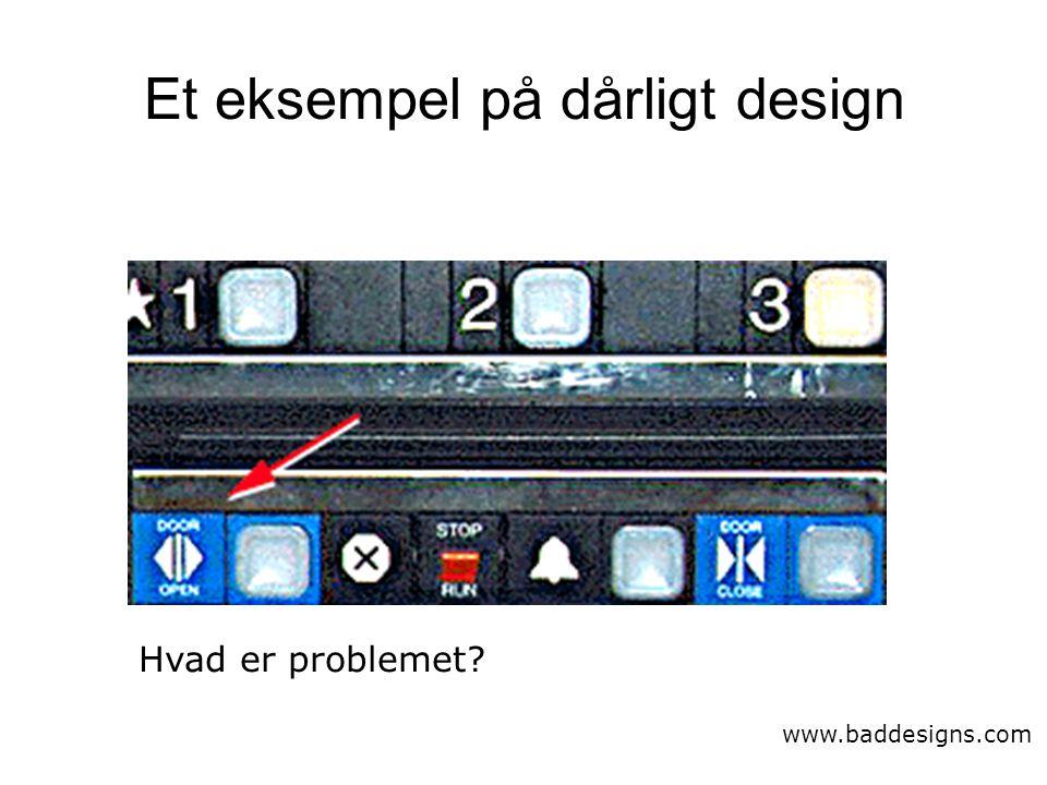 Et eksempel på dårligt design www.baddesigns.com Hvad er problemet