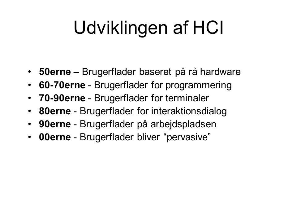 Udviklingen af HCI 50erne – Brugerflader baseret på rå hardware 60-70erne - Brugerflader for programmering 70-90erne - Brugerflader for terminaler 80erne - Brugerflader for interaktionsdialog 90erne - Brugerflader på arbejdspladsen 00erne - Brugerflader bliver pervasive
