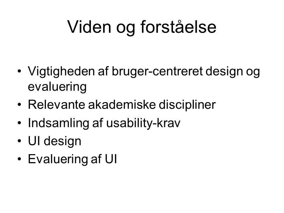 Viden og forståelse Vigtigheden af bruger-centreret design og evaluering Relevante akademiske discipliner Indsamling af usability-krav UI design Evaluering af UI