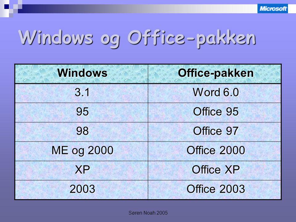 Søren Noah 2005 Windows og Office-pakken WindowsOffice-pakken 3.1 Word 6.0 95 Office 95 98 Office 97 ME og 2000 Office 2000 XP Office XP 2003 Office 2003