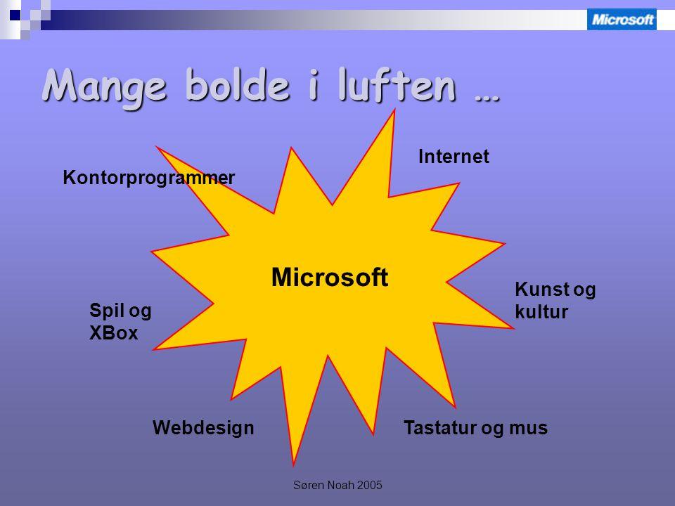Søren Noah 2005 Mange bolde i luften … Microsoft Internet Kunst og kultur Tastatur og musWebdesign Spil og XBox Kontorprogrammer