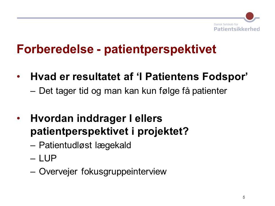Forberedelse - patientperspektivet Hvad er resultatet af 'I Patientens Fodspor' –Det tager tid og man kan kun følge få patienter Hvordan inddrager I ellers patientperspektivet i projektet.