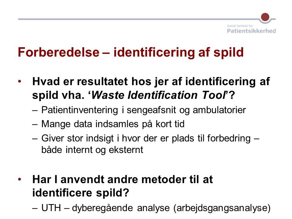 Forberedelse – identificering af spild Hvad er resultatet hos jer af identificering af spild vha.