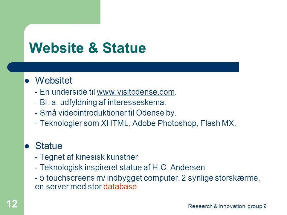 Research & Innovation, group 9 12 Website & Statue Websitet - En underside til www.visitodense.com.www.visitodense.com - Bl.