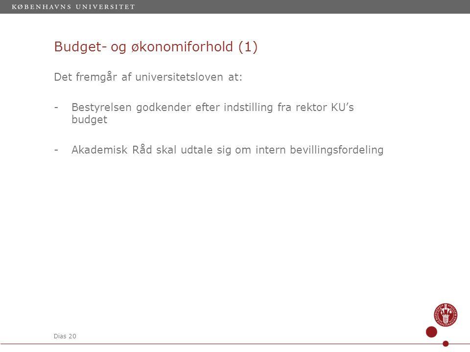 Dias 20 Budget- og økonomiforhold (1) Det fremgår af universitetsloven at: -Bestyrelsen godkender efter indstilling fra rektor KU's budget -Akademisk Råd skal udtale sig om intern bevillingsfordeling