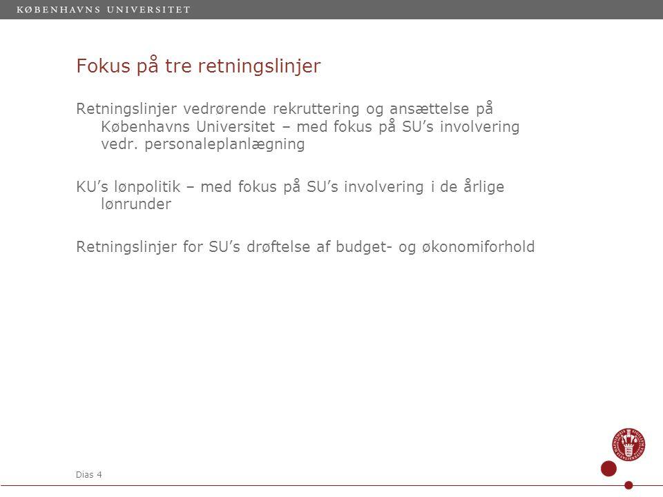 Dias 4 Fokus på tre retningslinjer Retningslinjer vedrørende rekruttering og ansættelse på Københavns Universitet – med fokus på SU's involvering vedr.