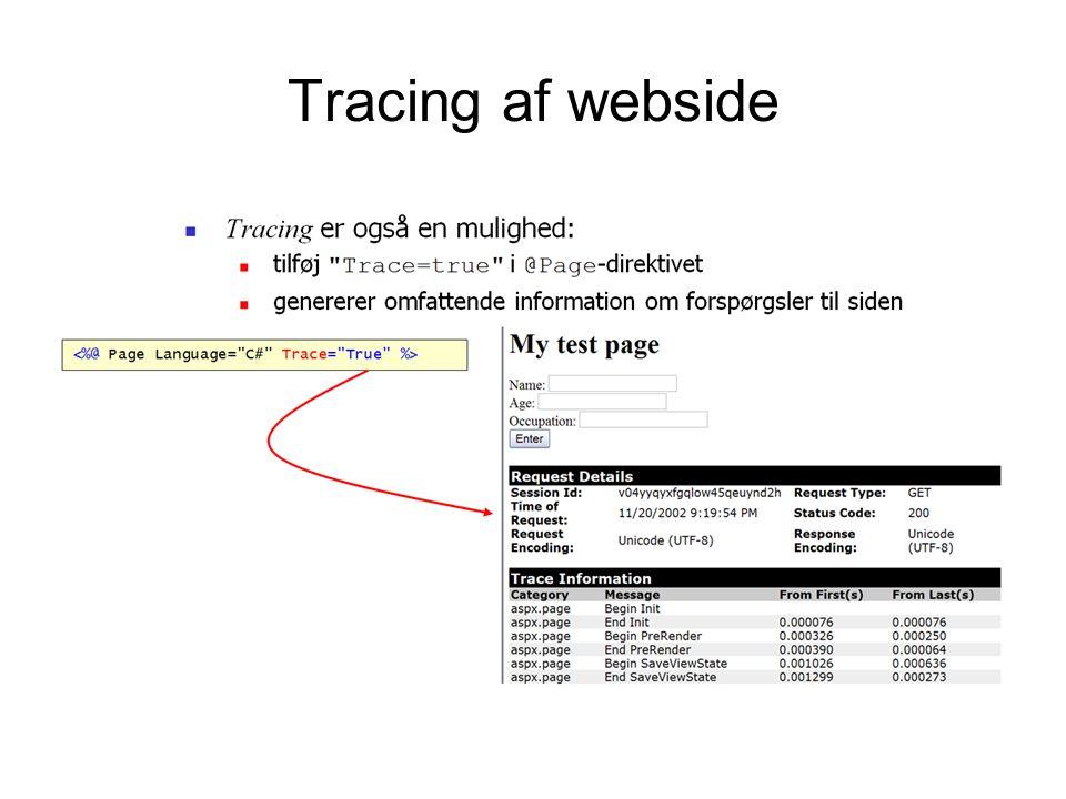 Tracing af webside