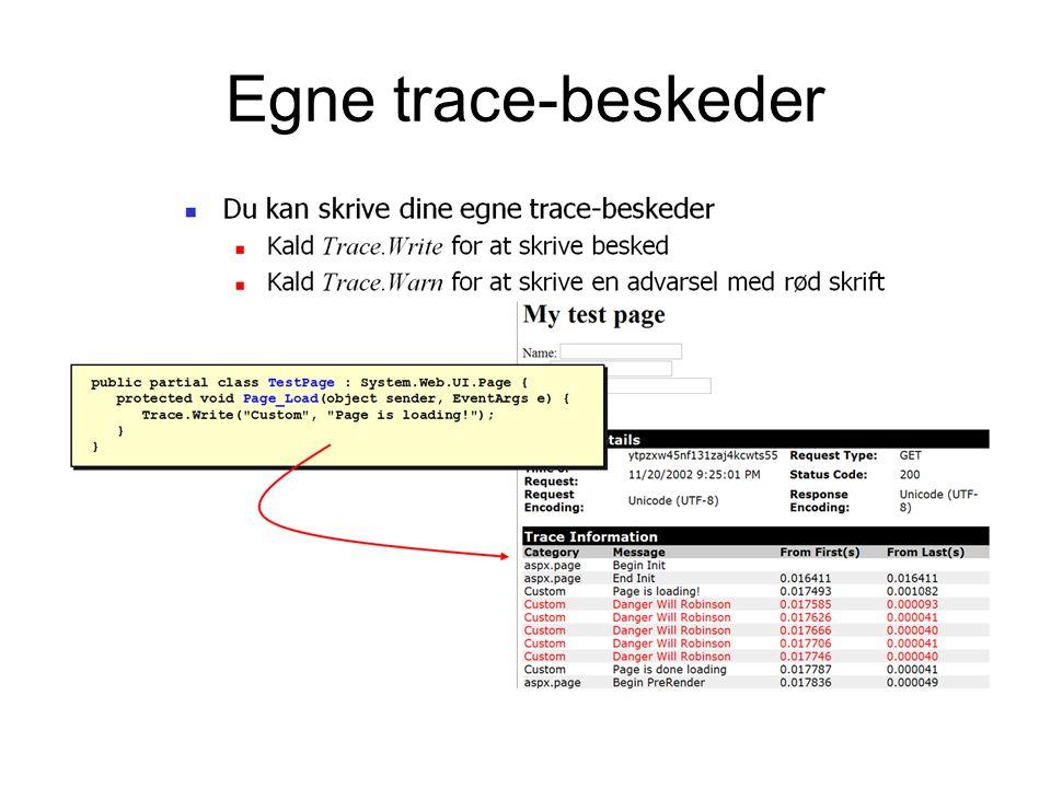 Egne trace-beskeder