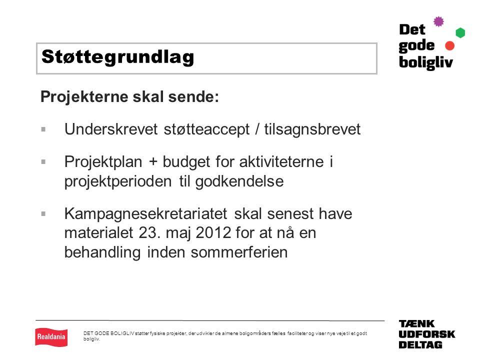 k Projekterne skal sende:  Underskrevet støtteaccept / tilsagnsbrevet  Projektplan + budget for aktiviteterne i projektperioden til godkendelse  Kampagnesekretariatet skal senest have materialet 23.