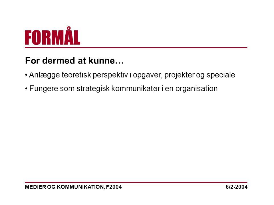MEDIER OG KOMMUNIKATION, F2004 FORMÅL 6/2-2004 For dermed at kunne… Anlægge teoretisk perspektiv i opgaver, projekter og speciale Fungere som strategisk kommunikatør i en organisation
