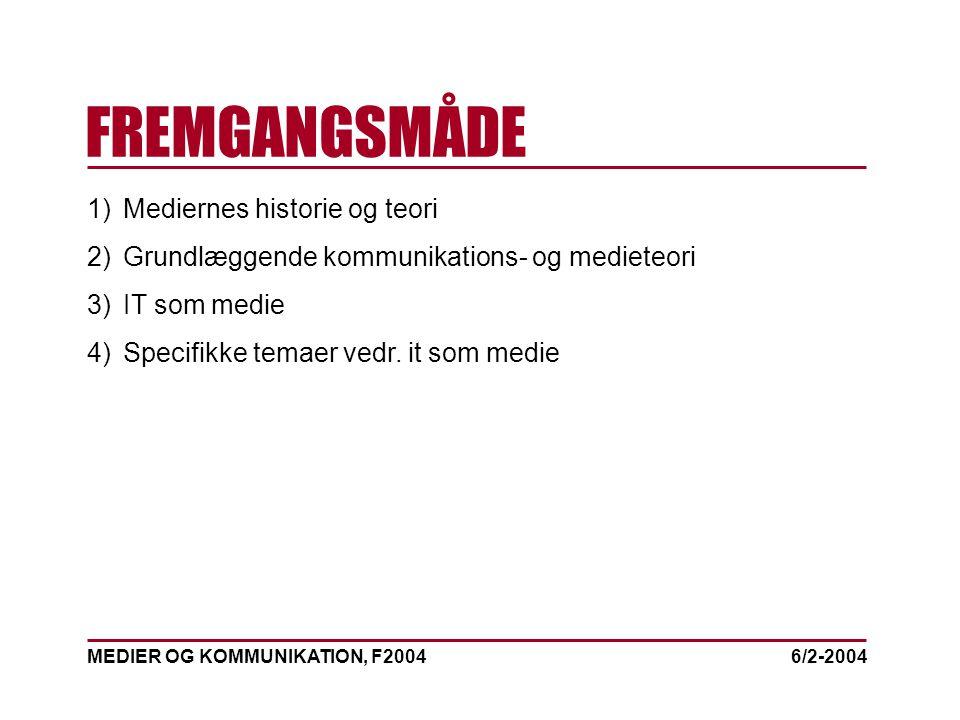 MEDIER OG KOMMUNIKATION, F2004 FREMGANGSMÅDE 6/2-2004 1)Mediernes historie og teori 2)Grundlæggende kommunikations- og medieteori 3)IT som medie 4)Specifikke temaer vedr.