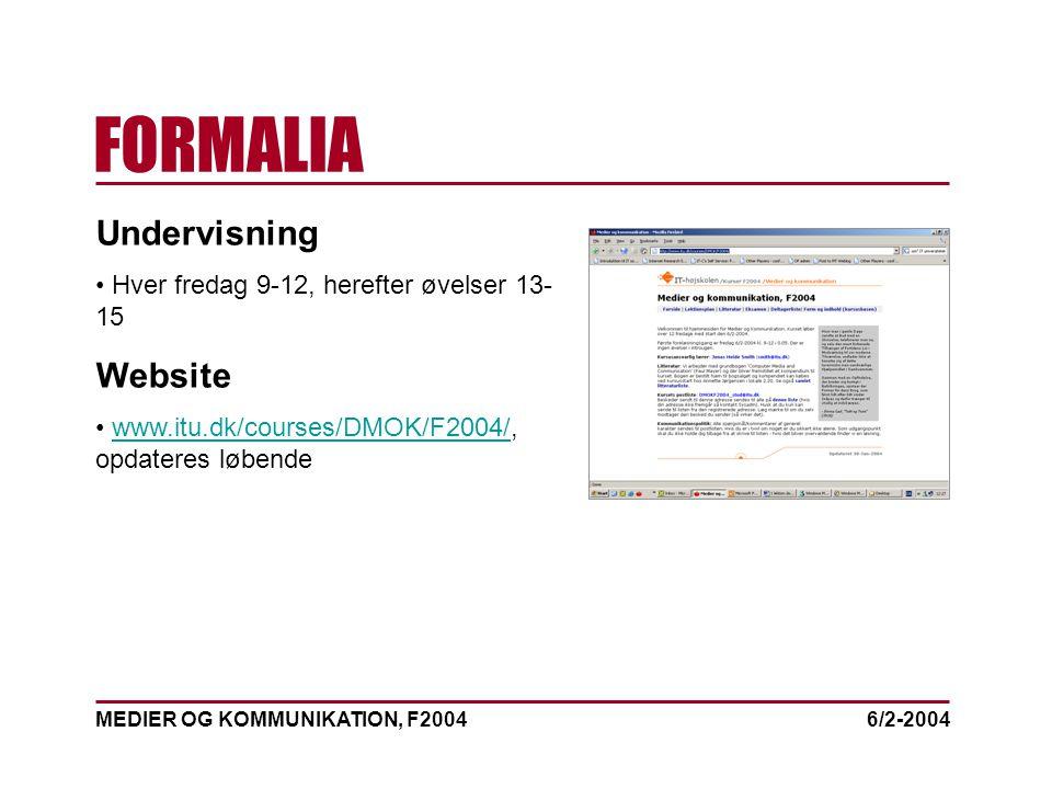MEDIER OG KOMMUNIKATION, F2004 FORMALIA 6/2-2004 Undervisning Hver fredag 9-12, herefter øvelser 13- 15 Website www.itu.dk/courses/DMOK/F2004/, opdateres løbendewww.itu.dk/courses/DMOK/F2004/