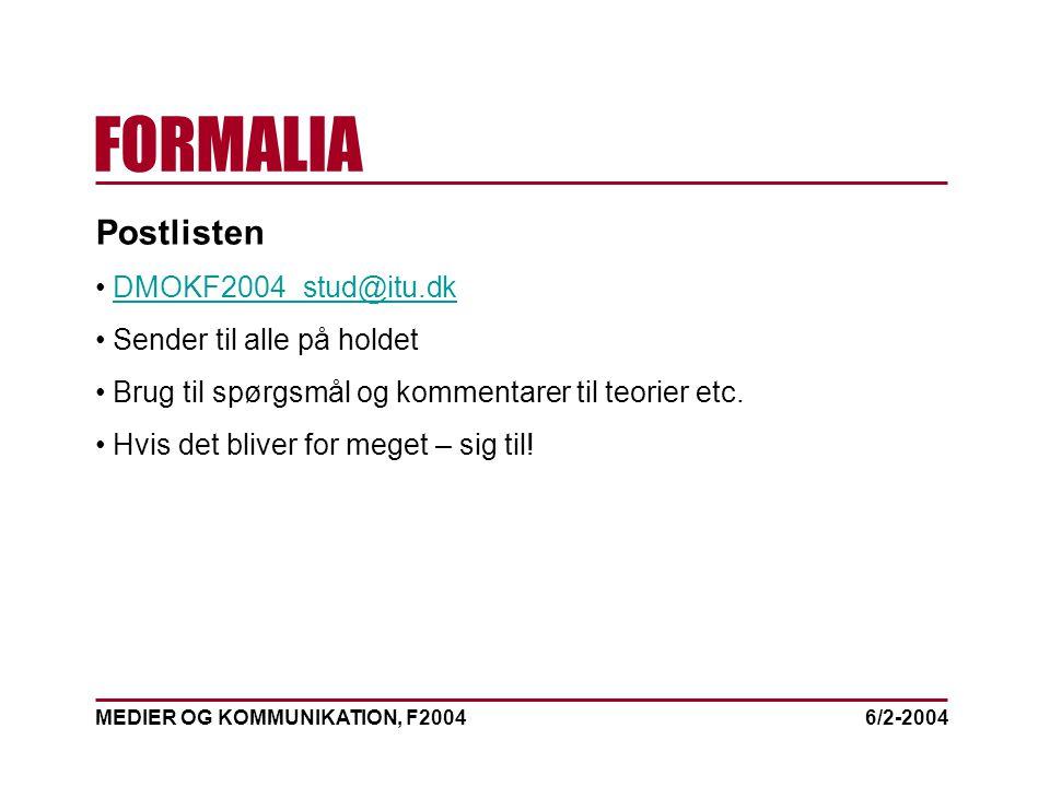 MEDIER OG KOMMUNIKATION, F2004 FORMALIA 6/2-2004 Postlisten DMOKF2004_stud@itu.dk Sender til alle på holdet Brug til spørgsmål og kommentarer til teorier etc.