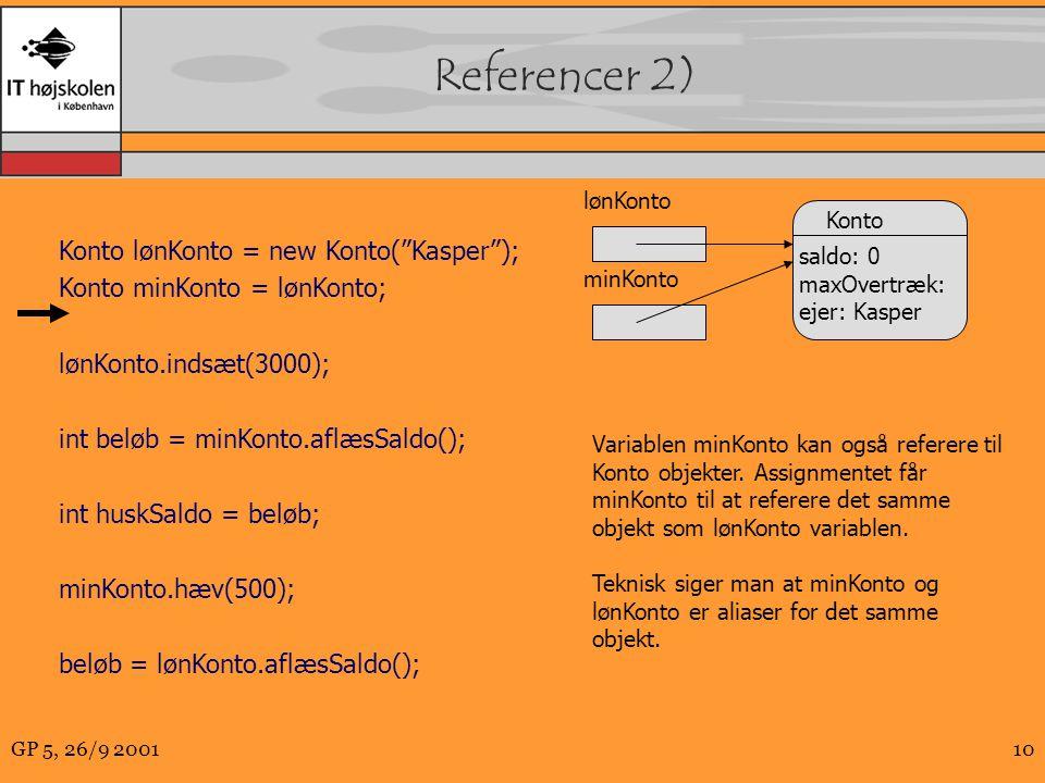 GP 5, 26/9 200110 Referencer 2) Konto lønKonto = new Konto( Kasper ); Konto minKonto = lønKonto; lønKonto.indsæt(3000); int beløb = minKonto.aflæsSaldo(); int huskSaldo = beløb; minKonto.hæv(500); beløb = lønKonto.aflæsSaldo(); lønKonto Konto saldo: 0 maxOvertræk: ejer: Kasper minKonto Variablen minKonto kan også referere til Konto objekter.