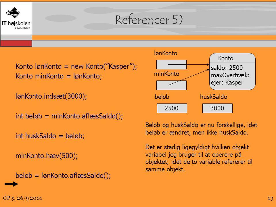 GP 5, 26/9 200113 Referencer 5) Konto lønKonto = new Konto( Kasper ); Konto minKonto = lønKonto; lønKonto.indsæt(3000); int beløb = minKonto.aflæsSaldo(); int huskSaldo = beløb; minKonto.hæv(500); beløb = lønKonto.aflæsSaldo(); Konto saldo: 2500 maxOvertræk: ejer: Kasper minKonto Beløb og huskSaldo er nu forskellige, idet beløb er ændret, men ikke huskSaldo.
