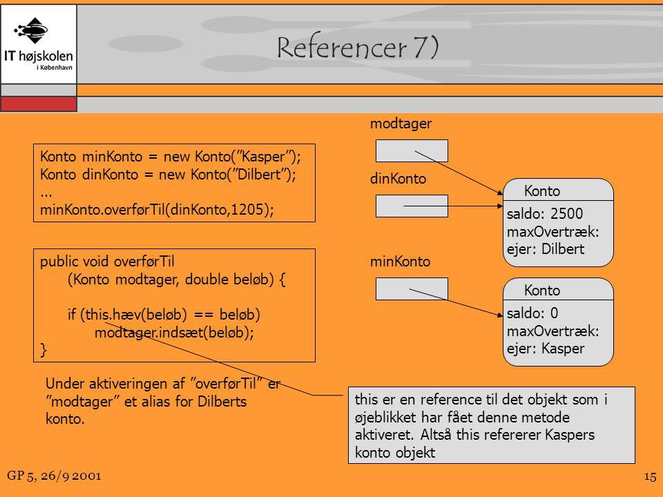GP 5, 26/9 200115 Referencer 7) public void overførTil (Konto modtager, double beløb) { if (this.hæv(beløb) == beløb) modtager.indsæt(beløb); } Konto minKonto = new Konto( Kasper ); Konto dinKonto = new Konto( Dilbert );...