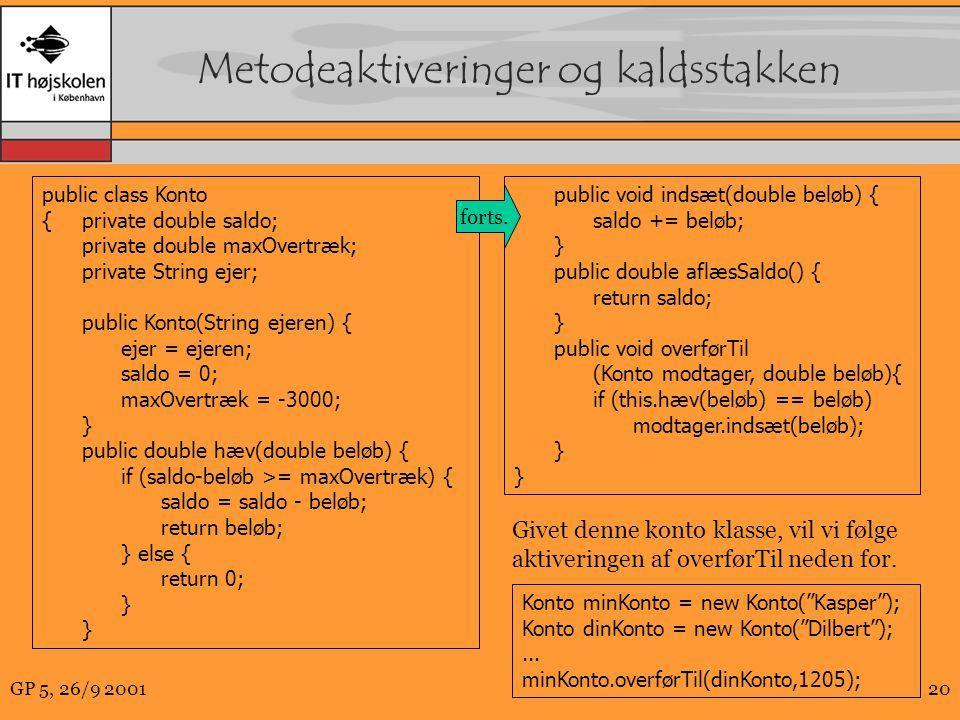 GP 5, 26/9 200120 Metodeaktiveringer og kaldsstakken Konto minKonto = new Konto( Kasper ); Konto dinKonto = new Konto( Dilbert );...