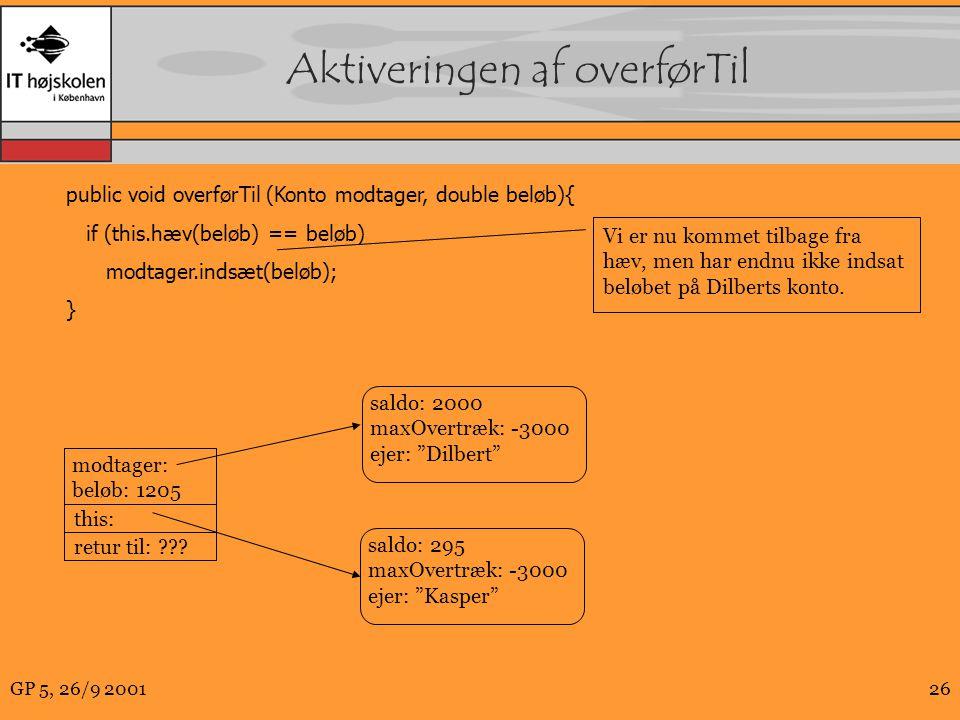 GP 5, 26/9 200126 Aktiveringen af overførTil public void overførTil(Konto modtager, double beløb){ if (this.hæv(beløb) == beløb) modtager.indsæt(beløb); } modtager: beløb: 1205 this: retur til: .