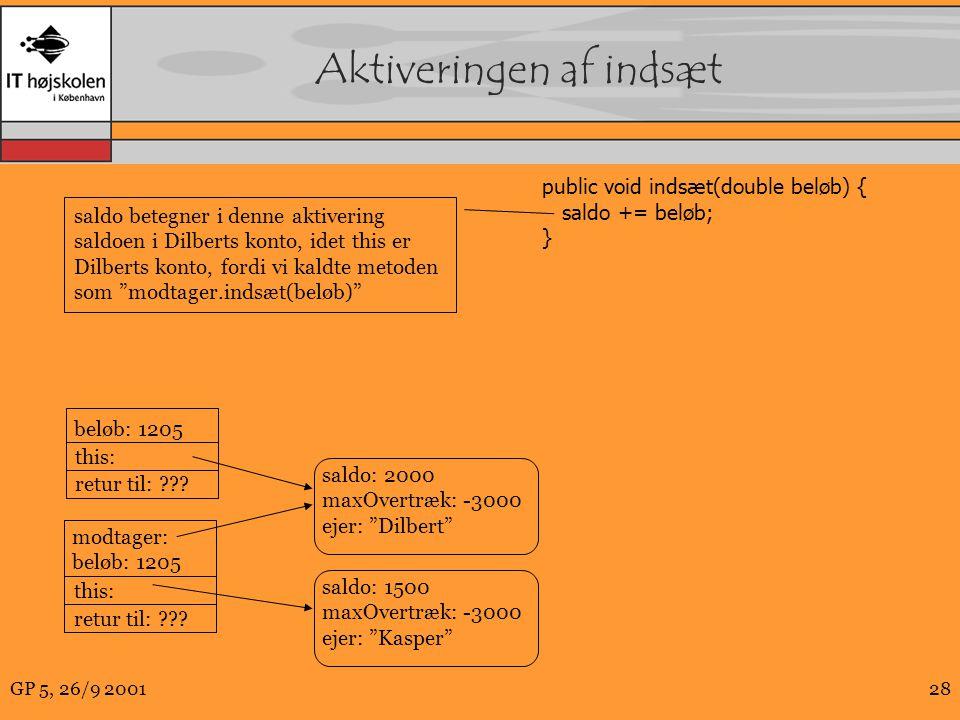 GP 5, 26/9 200128 Aktiveringen af indsæt modtager: beløb: 1205 this: retur til: .