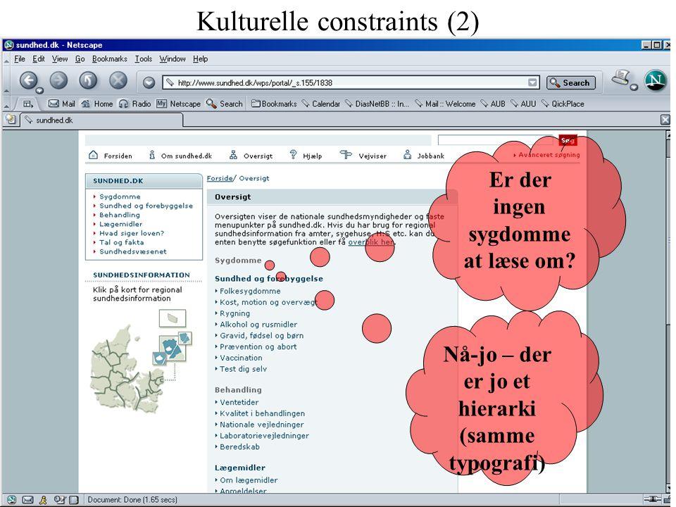 Kulturelle constraints (2) Er der ingen sygdomme at læse om.