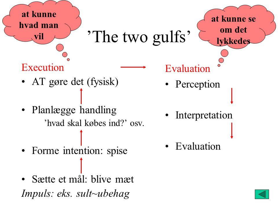 'The two gulfs' Execution AT gøre det (fysisk) Planlægge handling 'hvad skal købes ind ' osv.