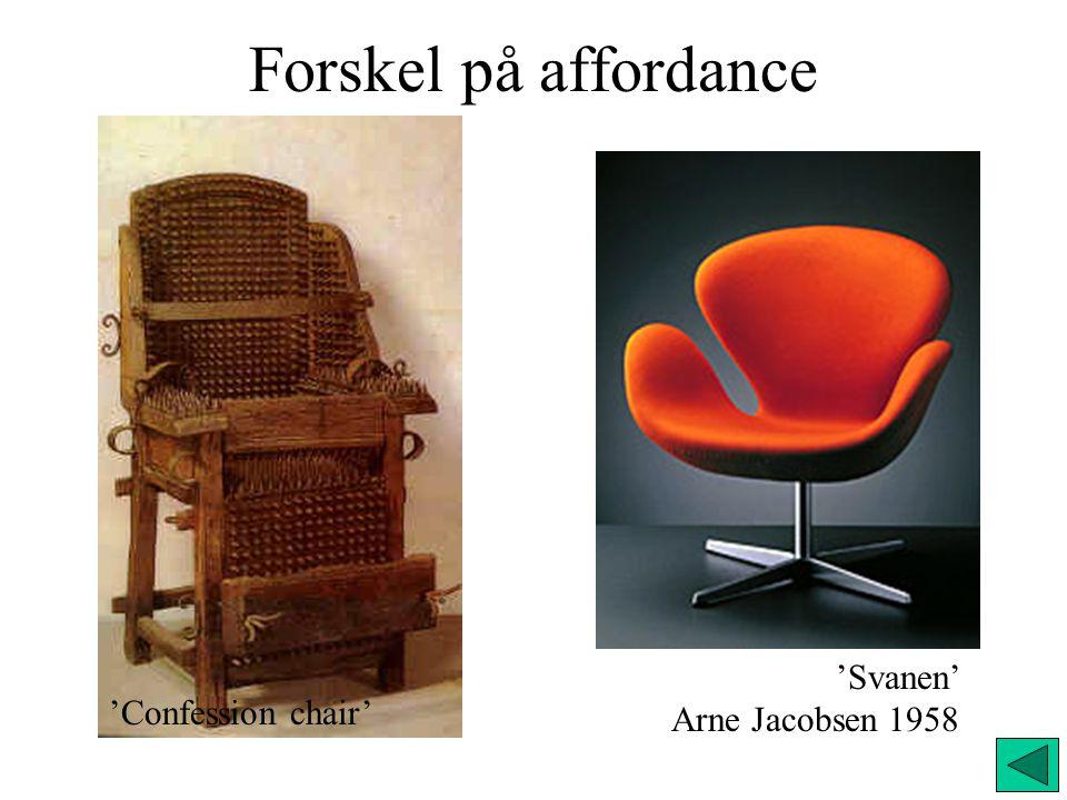 Forskel på affordance 'Svanen' Arne Jacobsen 1958 'Confession chair'