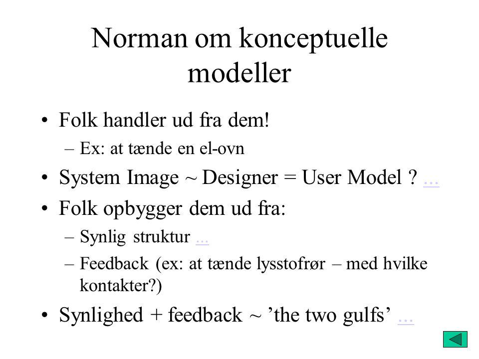 Norman om konceptuelle modeller Folk handler ud fra dem.