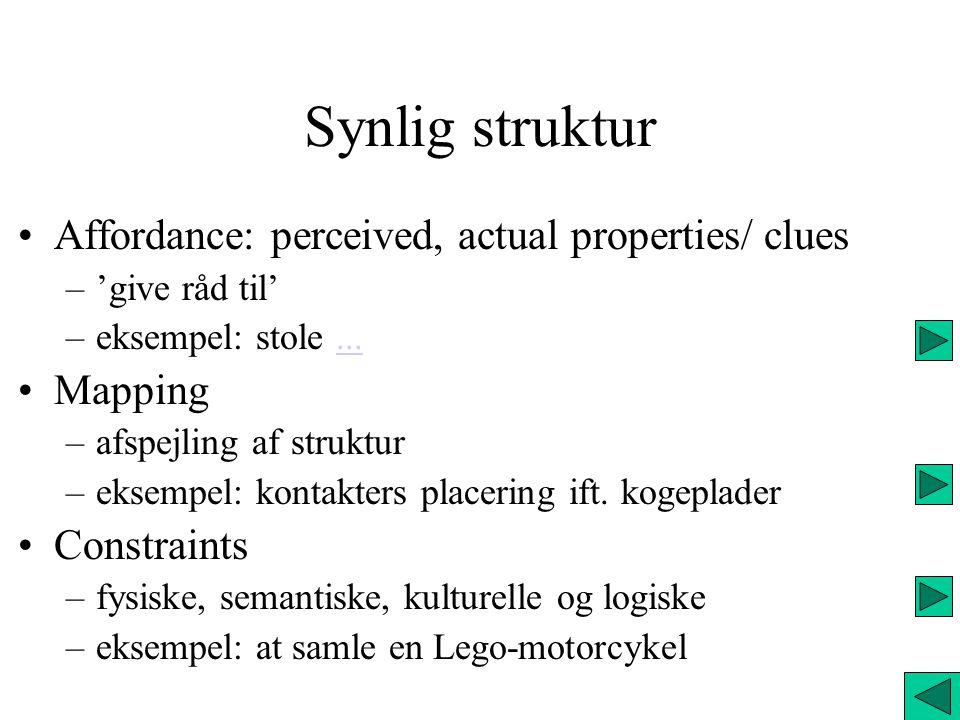 Synlig struktur Affordance: perceived, actual properties/ clues –'give råd til' –eksempel: stole......