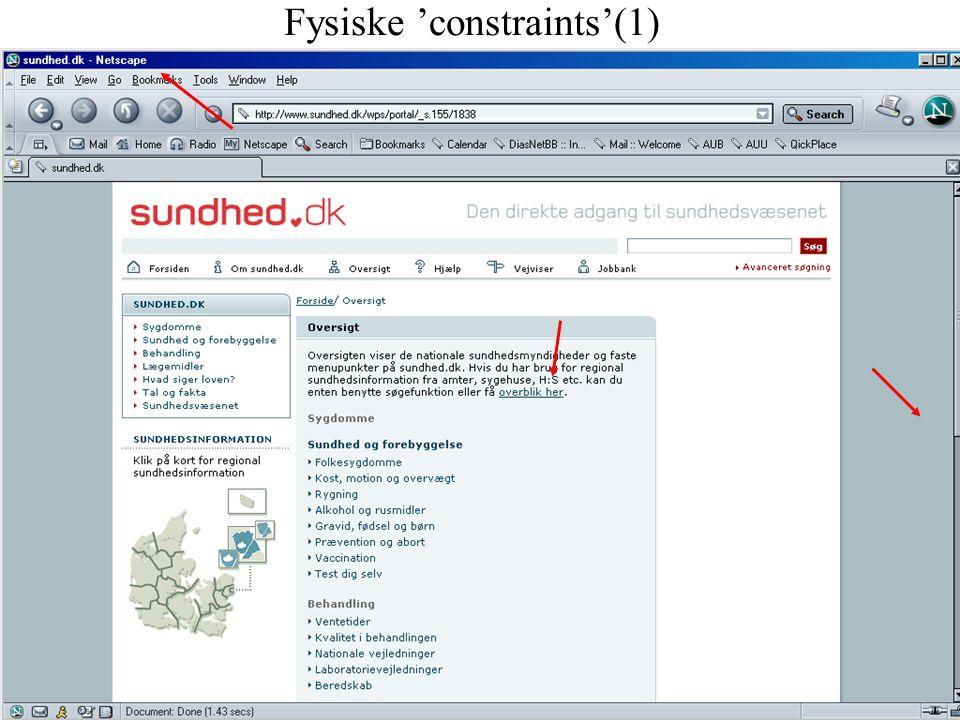 Fysiske 'constraints'(1)