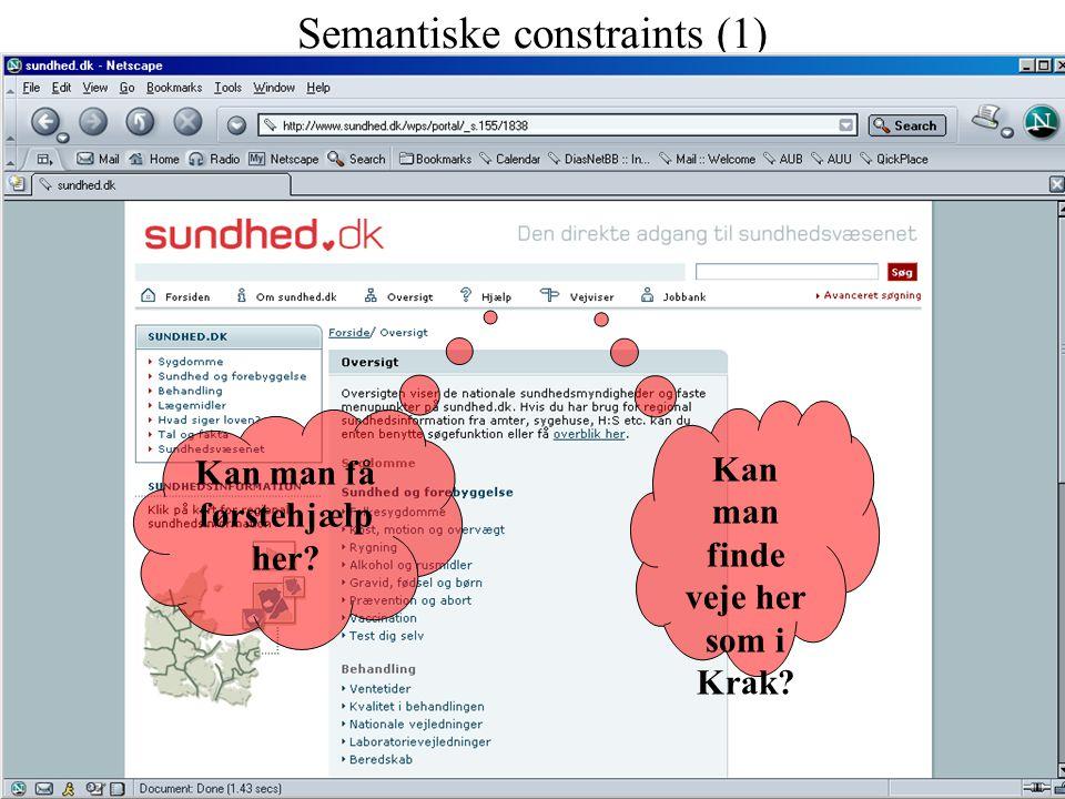 Semantiske constraints (1) Kan man finde veje her som i Krak Kan man få førstehjælp her
